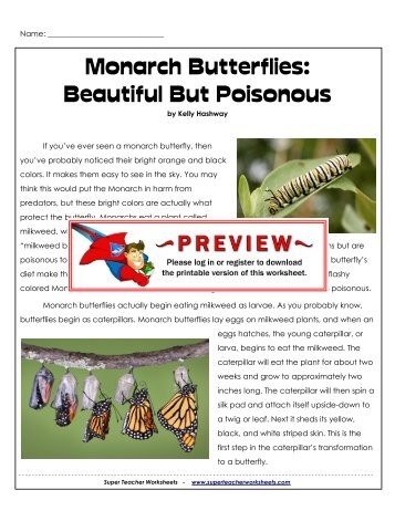 Monarch Butterflies - Super Teacher Worksheets