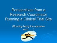 Running a Clinical Trial Site - Fraser Health