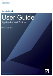 App Market and Toolbar - Autobahn - Deutsche Bank
