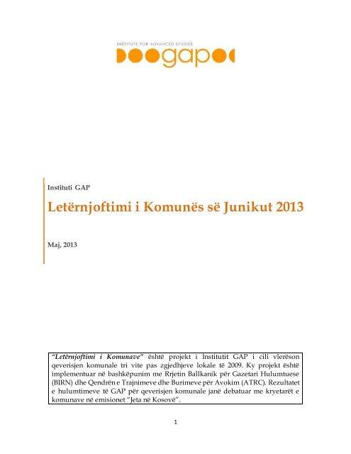 Letërnjoftimi i Komunës së Junikut 2013 - Instituti GAP
