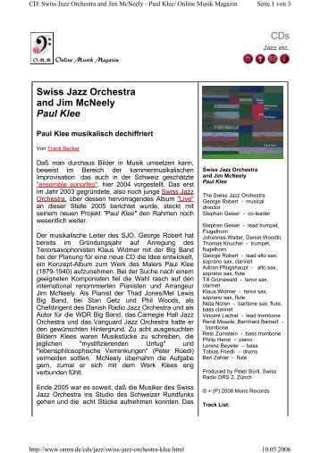 """""""Online Musik Magazin"""" vom 10.05.2006 - Swiss Jazz Orchestra"""
