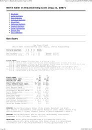 Berlin Adler vs Braunschweig Lions (Aug 11, 2007) - NewYorker Lions