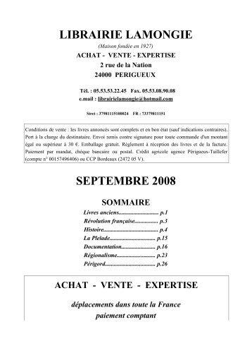 LIBRAIRIE LAMONGIE SEPTEMBRE 2008 - Livre Rare Book