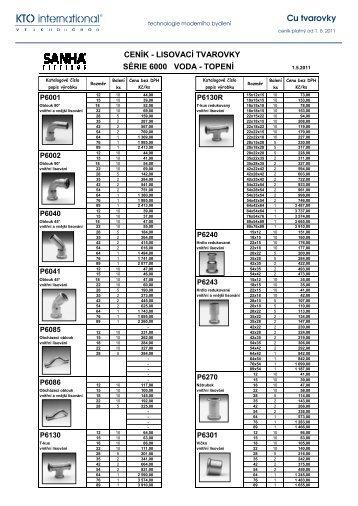 Ceník Cu lisovacích tvarovek - VODA