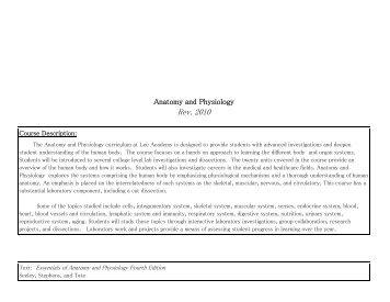 Anatomy and Physiology - Lee Academy