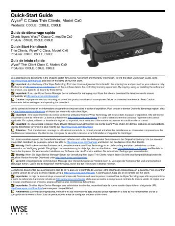 Quick-Start Guide: Wyse® C Class Thin Clients, Model Cx0 ...