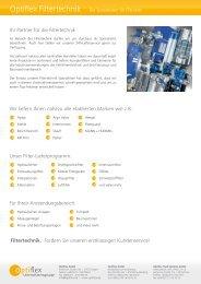Ihr Partner für die Filtertechnik Wir liefern Ihnen ... - Optiflex GmbH