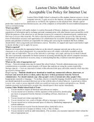 Lawton Chiles Middle School Acceptable Use Policy for Internet Use