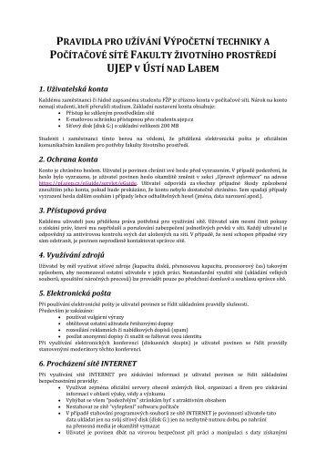 pravidla pro užívání výpočetní techniky a počítačové sítě fakulty ...