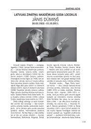 JĀNIS DŪMIŅŠ - Latvijas Zinātņu Akadēmija
