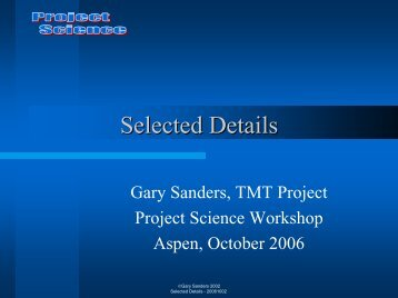 Selected Details in Project Management