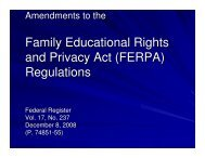 Family Educational Rights and Privacy Act (FERPA) Regulations