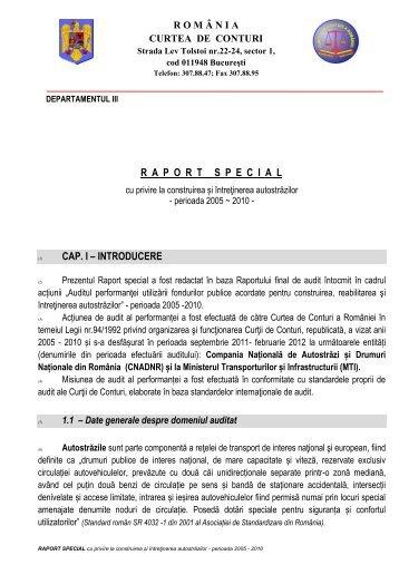 Raport special - Curtea de Conturi