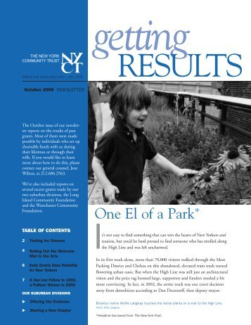 October 2009 Results Newsletter - The New York Community Trust