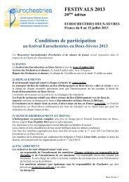Festival en Deux-Sèvres, Niort : du 8 au 15 juillet 2013 - Eurochestries