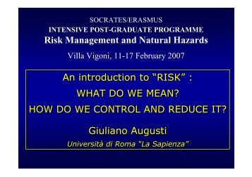"""An introduction to """"RISK"""" : WHAT DO WE MEAN? HOW DO WE ..."""
