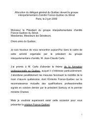 Allocution du délégué général du Québec devant le groupe ...