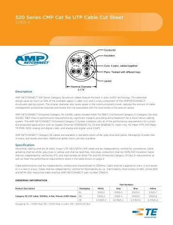 520 Series CMP Cat 5e UTP Cable Cut Sheet - Accu-Tech