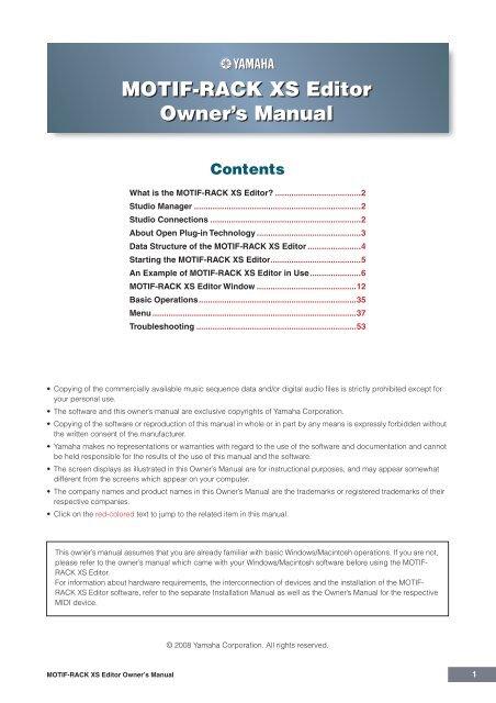 MOTIF-RACK XS Editor Owner's Manual - zZounds com