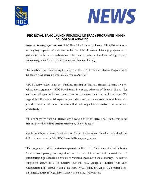 RBC ROYAL BANK LAUNCH FINANCIAL LITERACY     - RBTT Bank