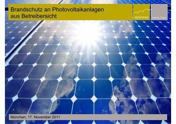 Brandschutz an Photovoltaikanlagen aus Betreibersicht