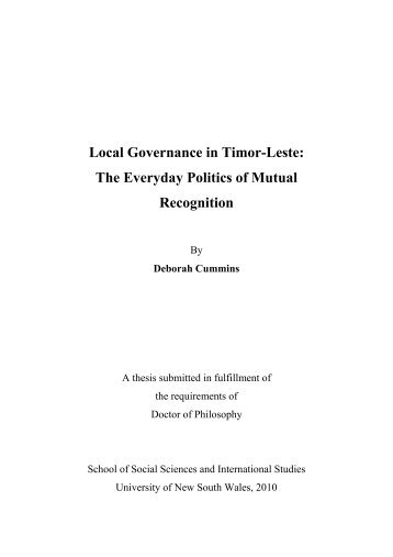 Local Governance in Timor-Leste - Secretaria de Estado da Arte e ...