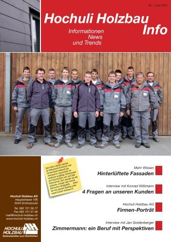 Zimmermann: ein Beruf mit Perspektiven - Hochuli Holzbau AG