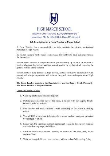 Job Description: Main Scale Teacher And Form Tutor Âu20acu201c  English Teacher Job Description