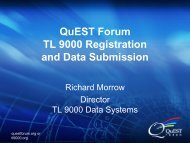 QuEST Forum TL 9000 Registration and Data Submission