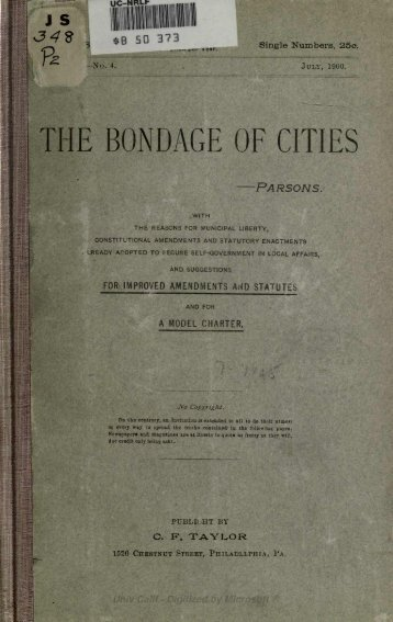 THE BONDAGE OF CITIES - The Community Environmental Legal ...