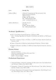 BIO DATA - Indian Statistical Institute