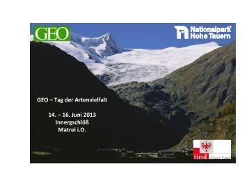 GEO – Tag der Artenvielfalt 14. – 16. Juni 2013 ... - Hohe Tauern
