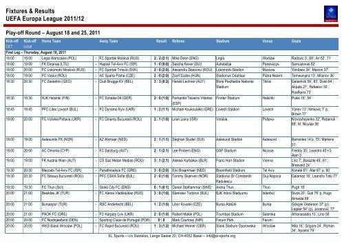 15++ Uefa Europa League Fixtures
