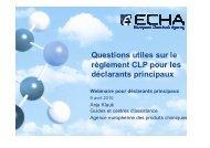 Questions utiles sur le règlement CLP pour les déclarants ... - Europa