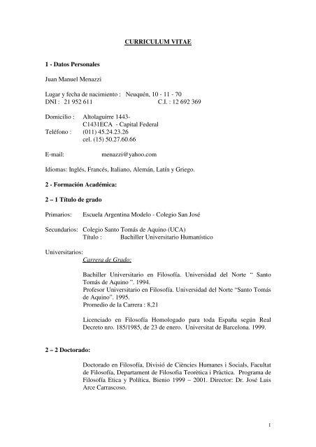 CURRICULUM VITAE 1 - Datos Personales Juan ... - FRBB - UTN