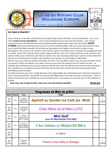 2012-07 Bulletin juillet - Rotary France District 1680, Alsace