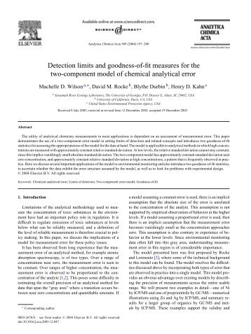 Detection limits and goodness-of-fit measures for the ... - David Rocke