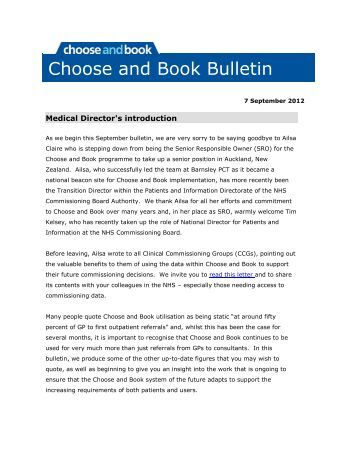 September 2012 bulletin - Choose and Book