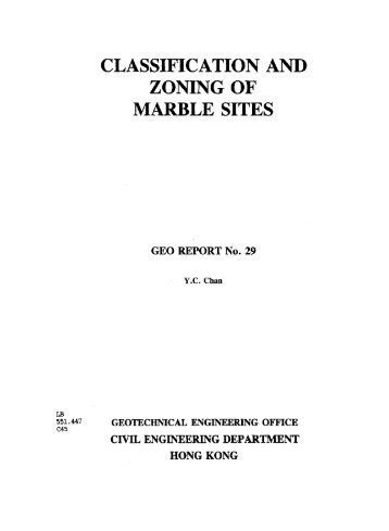 CLASSIFICATION AND ZONING OF MARBLE SITES - HKU Libraries