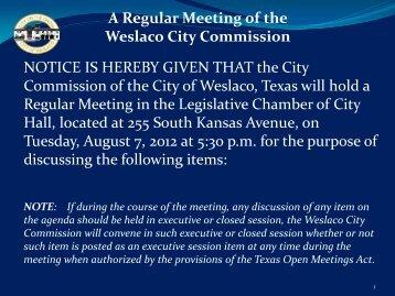 3. Agenda, August 7, 2012 - City of Weslaco
