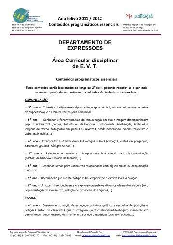 Ano letivo 2011 / 2012 Conteúdos programáticos essenciais