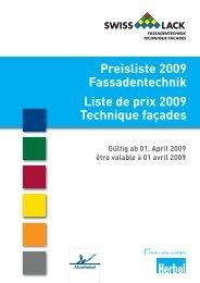 Preisliste 2009 Fassadentechnik Liste de prix 2009 ... - Herbol
