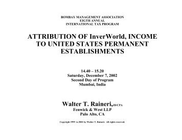 Walter T. Raineri - Foundation for International Taxation