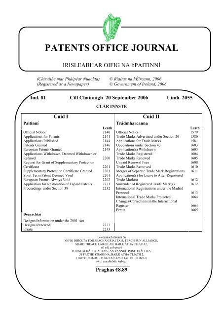 Patents Office Journal Irish Patents Office
