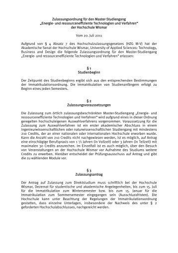 Pr fungsordnung f r den master studiengang digitale for Innenarchitektur wismar