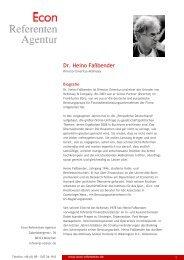Dr. Heino Faßbender - Econ Referenten-Agentur