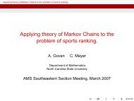 Applying theory of Markov Chains to the problem of sports ranking.