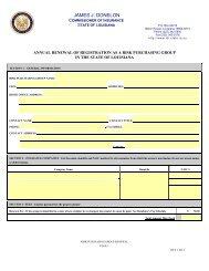 Risk Purchasing Group Renewal Application - Louisiana ...