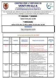 centro per l'impiego di ventimiglia - Lavoro - Sito Ufficiale della ...