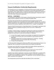 Cessna Certification Conformity Requirements